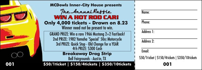 Dream Car Raffle Ticket Color