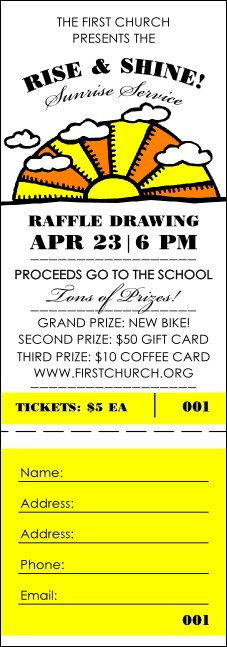 Sunrise Retro Raffle Ticket