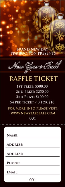Golden Ornament Raffle Ticket Product Front