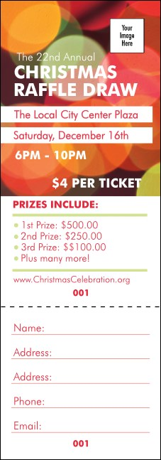 Holiday Lights Raffle Ticket Product Front