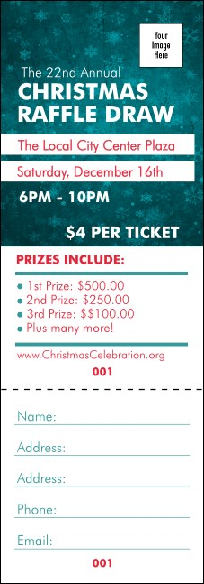 Holiday Snowflake Raffle Ticket Product Front