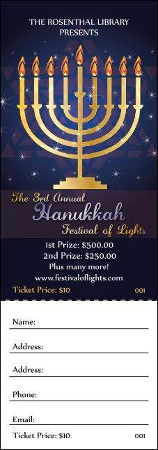 Hanukkah Menorah Raffle Ticket