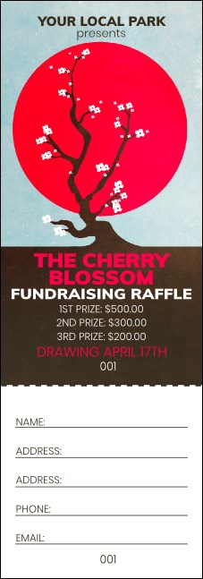 Cherry Blossom Circle Raffle Ticket