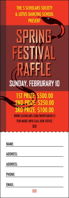Chinese New Year Snake Raffle Ticket
