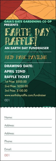 Earth Day Organic Raffle Ticket