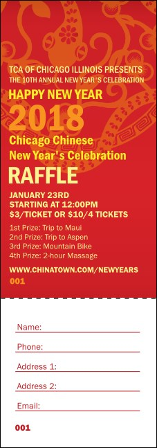 Chinese New Year Flower Snake Raffle Ticket