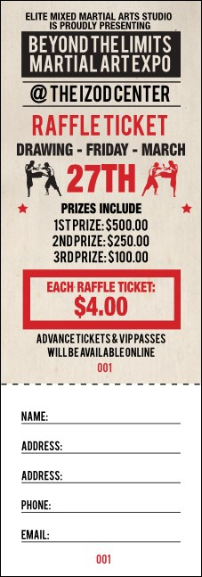 MMA Old School Raffle Ticket Product Front
