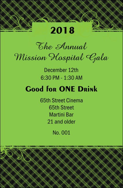 Year Gala Plaid Green Drink Ticket
