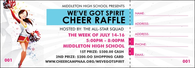Cheerleading Spirit Raffle Ticket Product Front