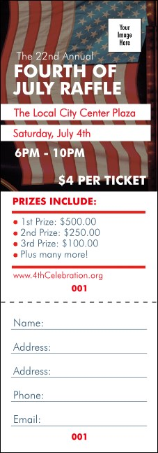 Fourth of July Raffle Ticket Product Front