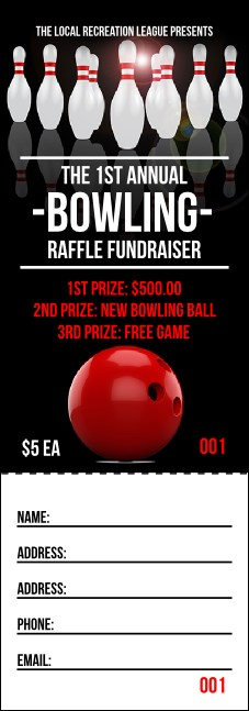 Bowling Classic Raffle Ticket Product Front