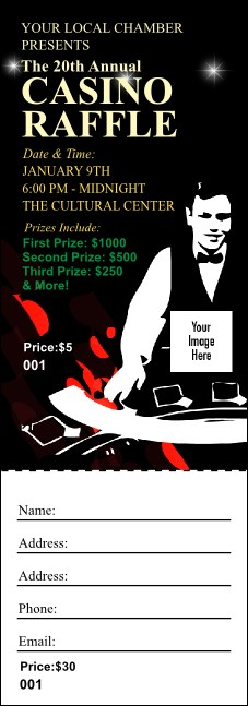 Casino Dealer Raffle Ticket Product Front