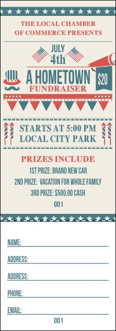 Fourth of July Hometown Raffle Ticket Product Front