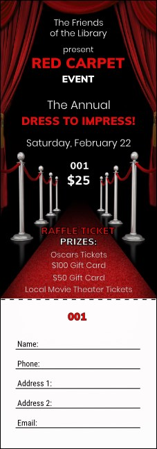 Red Carpet Raffle Ticket