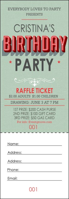 Birthday Party Green Raffle Ticket