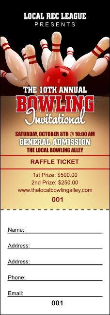 Bowling League Raffle Ticket Product Front