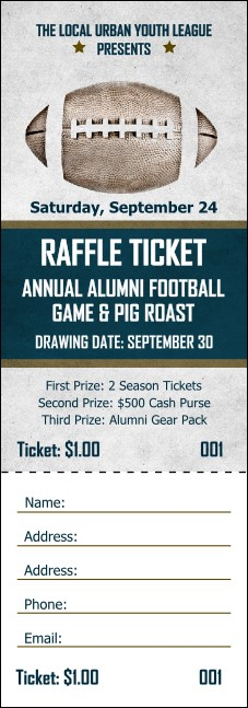 Football Blue Raffle Ticket