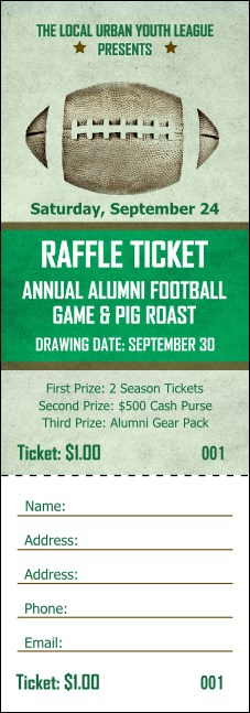 Football Green Raffle Ticket