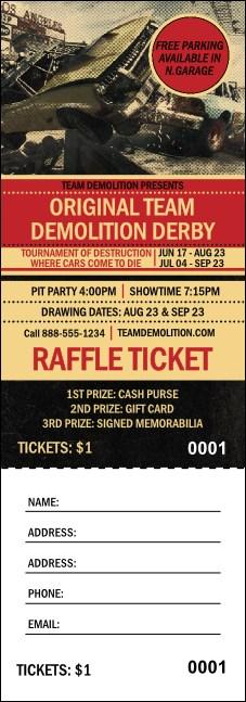 demolition derby raffle ticket