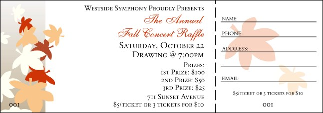 Fall Leaf Raffle Ticket 001 Product Front