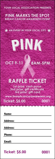 Breast Cancer Pink Ribbon Raffle Ticket