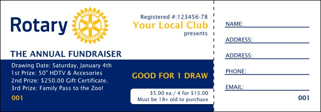 Rotary Club Raffle Ticket 2 (Blue)