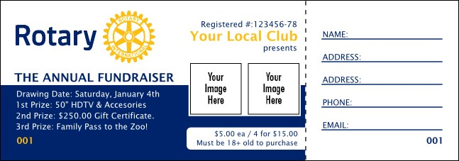 Rotary Club Logo Raffle Ticket 2 (Blue)