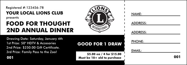 Lions Club International Black and White Raffle Ticket