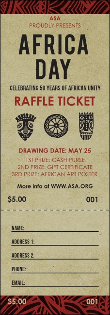 African Theme Raffle Ticket