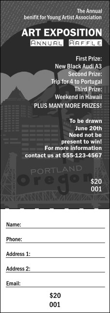 Portland Raffle Ticket (black and white)