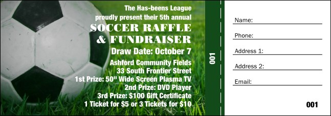 Soccer Ball Raffle Ticket