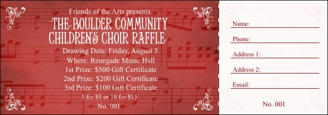 Choral Raffle Ticket Product Front