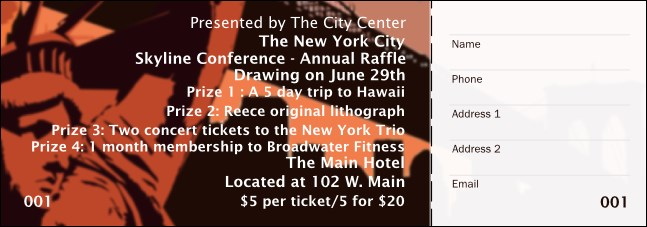 New York Red and Orange Raffle Ticket 001