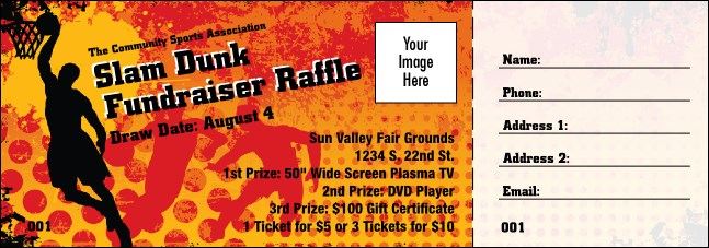 Basketball Raffle Ticket Product Front