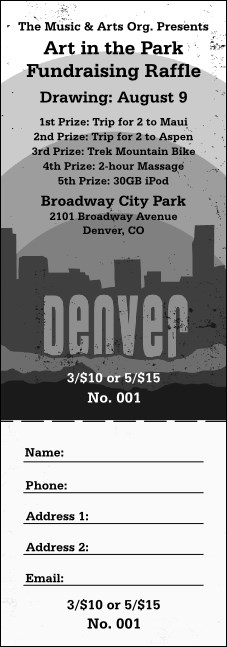 Denver Black and White Raffle Ticket Product Front