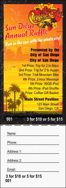 San Diego Raffle Ticket with stub