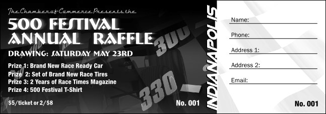 Indianapolis Raffle Ticket (Black and White) Product Front