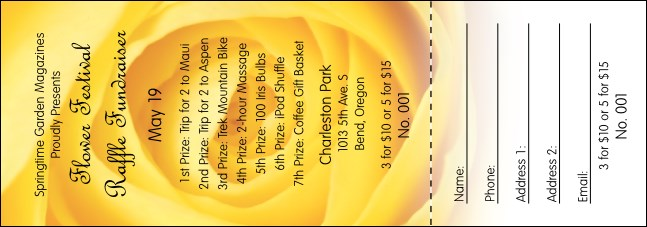 Yellow Rose Raffle Ticket Product Front