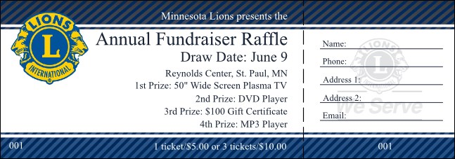 Lions Club Raffle Ticket
