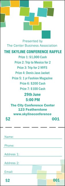 Green Squares Raffle Ticket