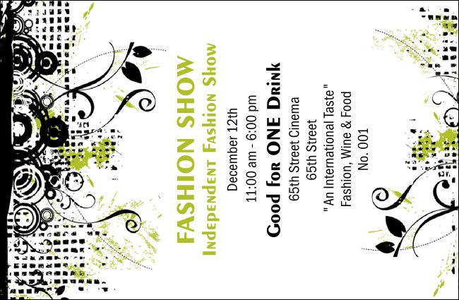 Fashion Show Drink Ticket Product Front