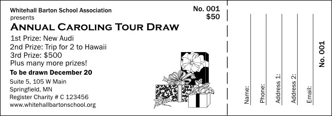 Christmas Black and White Raffle Ticket 001