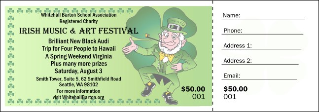 St. Patrick's Day Raffle Ticket 001 Product Front