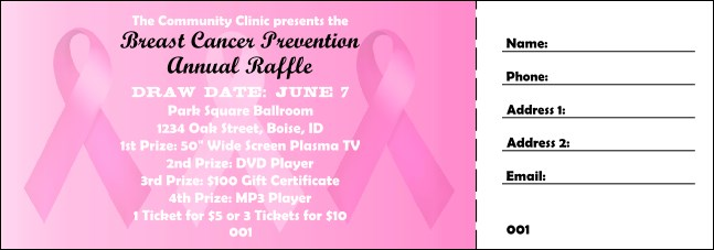 Pink Ribbon Raffle Ticket 001
