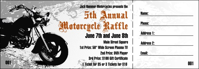 Motorcycle Raffle Ticket Product Front