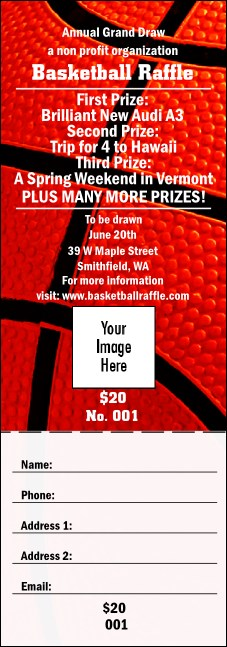 Basketball Raffle Ticket 002 Product Front