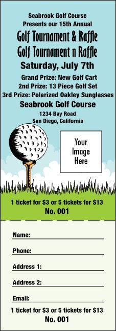 Golf Raffle Ticket 001 Product Front