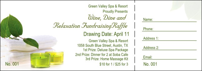 Green Candles Raffle Ticket