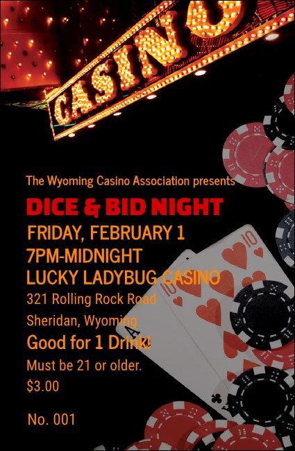 Casino Night Drink Ticket