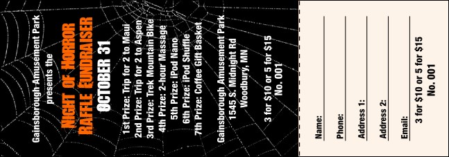 Spider Web Raffle Ticket 001 Product Front